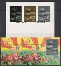 Guyana - 1994 Peace and Music s/s ovpt. Specimen & 2s/s silver gold**