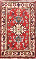 Geometric RED/ IVORY Super Kazak Oriental Area Rug Wool Hand-Knotted 2x3 Carpet