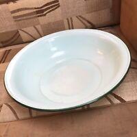 French Enamel Bowl Dish Washing Wash 1950s Vintage Retro Duck Egg Blue Country