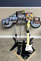 PS3 Rock Band Bundle Wireless Guitar w/ Dongle Wired Drums + Mic 1 2 Hero 4 5