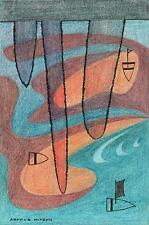 BOATS AT SEA ABSTRACT Coloured Pencil Drawing ARTHUR MITSON 1987 SEASCAPE