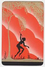 1 Single VINTAGE Swap/Playing Card SILHOUETTE DECO PIXIE NYMPH Gold Tree ORANGE