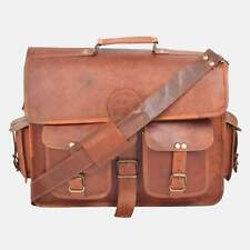 Distressed Rare Brown Leather Vintage Laptop Messenger Shoulder Briefcase Bag