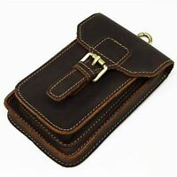 "Men's Vintage Genuine Leather 6.3"" Belt Waist Bag Cowhide Phone Pouch Case"