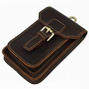 "Men's Vintage Genuine Leather 6.3"" Belt Waist Bag Cowhide Phone Pouch Case"