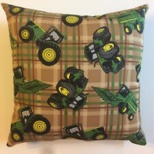 NEW PLAID AND GREEN JOHN DEERE TRACTORS ON COMPLETE 15 X 15 COTTON THROW PILLOW