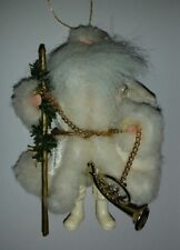 Christmas Ornament Santa in White With French Horn