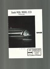 SAAB 900, 9000, CD intervalli LISTINO opuscolo 1990