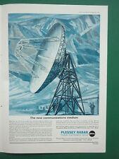9/1966 PUB PLESSEY RADAR ELECTRONICS SATELLITE COMMUNICATION NETWORK ANTENNE AD