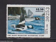 1987 ME-4 MAINE  State  Waterfowl Duck Stamp MNH Buffleheads *