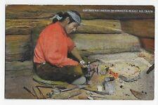 Vintage Postcard Ethnic Navajo Indian Silversmith Plying his Trade