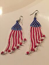 Jewelry Earrings Red White Blue USA Dangling Stars Glass Bead Silver Plated Hook