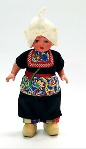 """Vintage 9"""" Hard Plastic Celluloid & Wood Dutch Doll Made In Holland"""