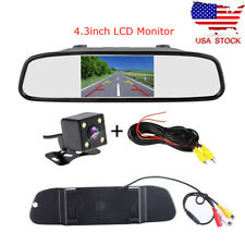 "4.3"" Car LCD Rear View Monitor Mirror HD Reverse Backup Camera Kit Night Vision"