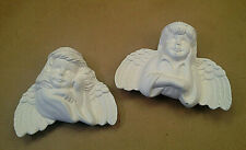 Pair Unpainted Ceramic Bisque Boy & Girl Angel Hanging Ornaments Ready to Paint