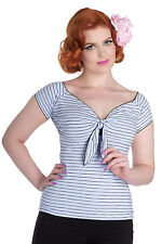 HELL BUNNY Mauricette ~ Rockabilly Blue Striped Top ~ Plus Size Vintage Pinup