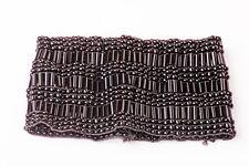 FUN STRETCHY BLACK PLASTIC BEADS FASHION BRACELET WIDE INTRICATE TRENDY (ZX22)