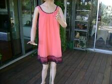 Vtg Stern Maid Nylon Double Chiffon Babydoll Nightgown Orange Black Lace Size: M