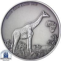 Giraffe Silver Ounce Afrika Serie 2016 Antique Finish Gabun 1000 Francs CFA