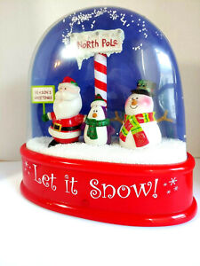 Large GEMMY Waterless Snow Globe Let It Snow Musical Santa Snowman  SEE VIDEO