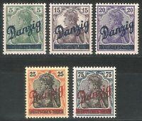 DR Danzig German Reich Rare WW1 Stamp 1920 Danzig Germania Overprint Classic Set