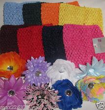 "NEW Girls  6"" Kids Crochet elastic TUTU Top Lot  of  8  &  8 FLOWERS WHOLESALE"
