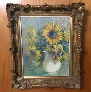 John Gnatek  Acrylic On Board Titled Sunflowers In A White Pitcher