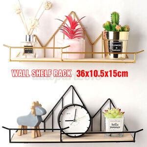 Wall Mounted Shelf Industrial Wooden Floating Metal Wire Rack Storage Display