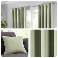 Fusion SORBONNE - Plain Green 100% Cotton Eyelet Curtains or Cushions