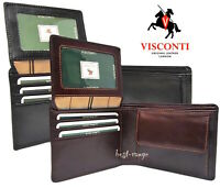 Homme Cuir Véritable Portefeuille Noir Qualité Trifold Visconti RFID New in Box TSC44