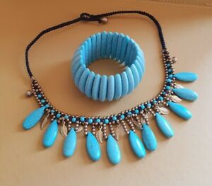 Turquoise Stone & Gold Tone Tribal Ethnic Beaded Choker with stretch bracelet