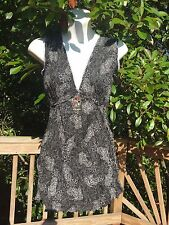 New_Lovely_Boho_Peasant Cotton Tunic Top w/ Pendant_Black and White_Free Size