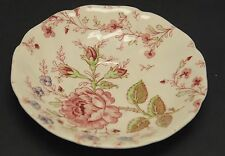 VINTAGE JOHNSON BROS ENGLAND ROSE CHINTZ 4 SCALLOPED SAUCERS PLATES 5-1/2""