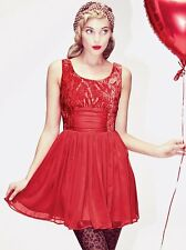 New Free People Ballerina Princess Dress Red Velvet Chiffon Lined Sz 4 S