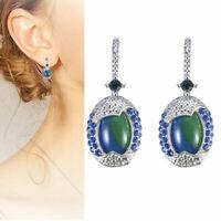 925 Silver Real Blue Opal Sapphire Woman Ear Hook Earrings Jewelry Gift New