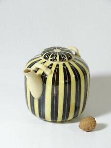 {M180} HEDWIG BOLLHAGEN Marwitz/Velten Keramik - Teekanne 1115 A Gelb-Schwarz ❖