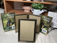 Vtg Gold Brass Tone Embossed Metal Picture Frames For 5'' x 7 '' Photos Lot Of 4