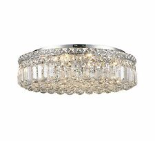 """4-Light D12"""" H5.5"""" Apollo Clear Crystal Flush Mount Ceiling Light Round"""