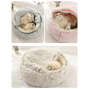 Pet Dog Cat Calming Bed Round Nest Warm Soft Plush Sleeping Bag Comfy Fluffy