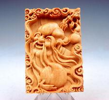 Wooden Detailed Carved Pendant Sculpture Long-Life Longevity & Big Peach #081217