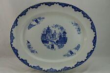 "Blairs Oriental England Transferware Platter Blue White Staffordshire Turkey 16"""