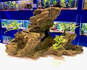 Grey Rocky With Bonsai Plants & Hideaway Aquarium Fish Tank Ornament R1