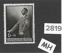 #2819   Very nice MH stamp Third Reich  Germany 1939 Adolph Hitler Culture fund