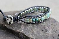 Men's African Turquoise Beaded Wrap Bracelet  Black Leather Bracelet Cuff