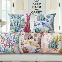 Cotton Linen Marine Life Pillow Case Sofa Bed Home Decor Cushion Cover XMAS Gift