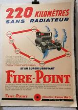 AFFICHE ANCIENNE  HUILE LUBRIFIANT FIRE POINT AUTOMOBILE