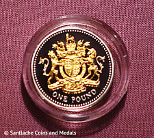 2008 GOLD SILHOUETTE SILVER PROOF £1 COIN IN CAPSULE - Royal Arms Design