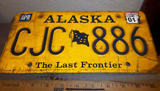 Alaska License Plate Gold Style, the last frontier, Alaska Flag CJC 886, ex 2001