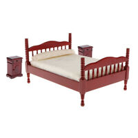 1:12 Dolls House Miniatures Bedroom Red Wooden Double Bed with Night Tables