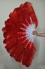 "Red Glittery LED Shine Bushy Double Ostrich Feather Fans Burlesque 28"" x 53"""